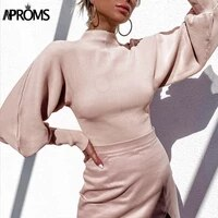 aproms high collar lantern sleeve knitted pullovers sweaters women winter street fashion soft white sweater office jumpers 2021