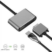 Tipo-C a VGA / 4K x 2K HDMI convertidor USB 3,1 PD Adaptador de Audio convertidor de vídeo para Macbook/Samsung/Xiaomi/TV
