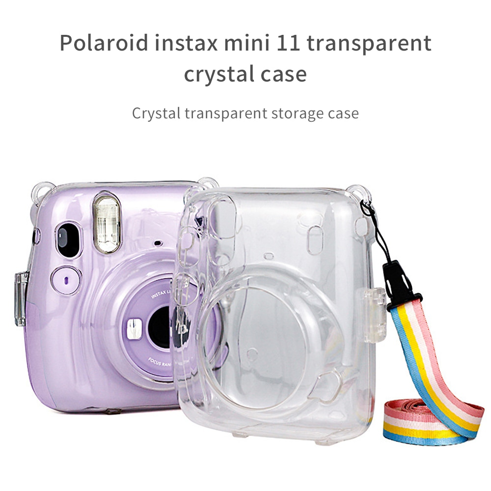 Funda protectora transparente de cristal con correa de hombro ajustable arcoíris para Fujifilm Instax Mini 11 Mini7s 7c mochila