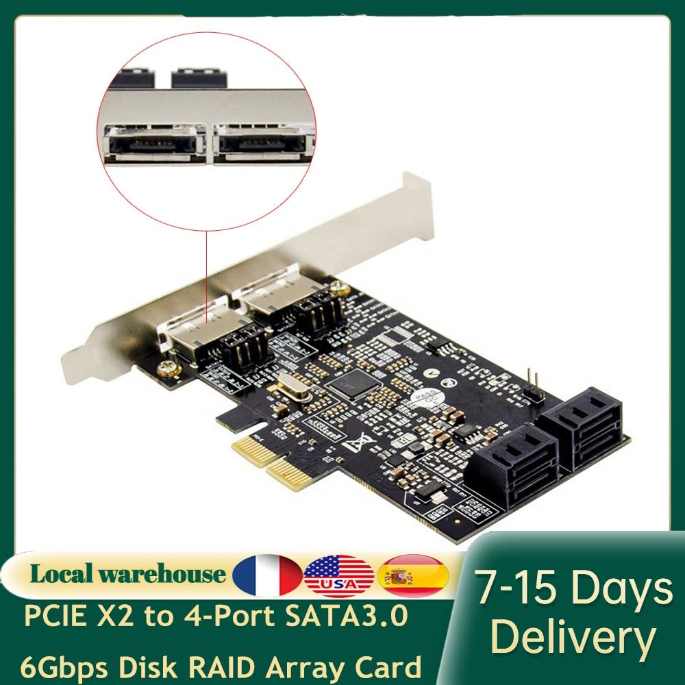 بطاقة مهايئ شرائح PCIE X2 إلى 4 منافذ SATA3.0 6 جيجا بايت في الثانية eSATA + SATA بطاقة توسيع بطاقة مهايئ شرائح 88SE9230