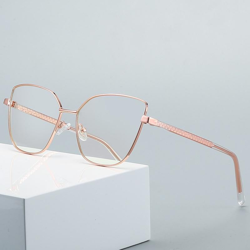 Lady Oversize Big Metal Cat Eye Myopia Ppresbyopia Prescription Glasses Woman Female Optical Eyeglas