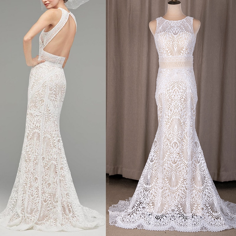 Review Cut Out Lace Mermaid Wedding Gown Hollow Plus Size Bodycon 2020 Crew Neck Sleeveless Sweep Train Bridal Dress 4034# Real Photo