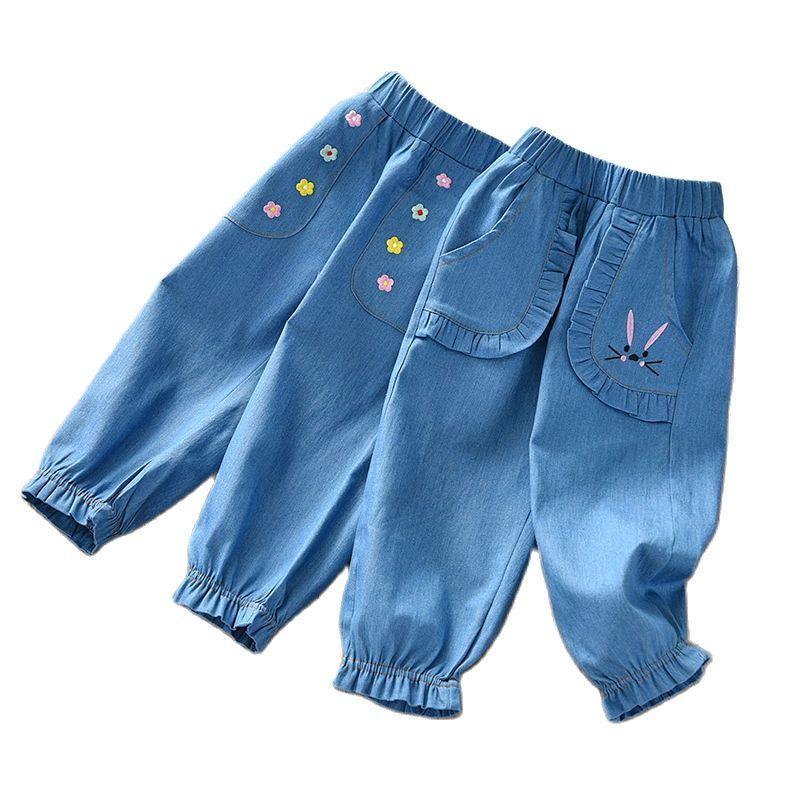 Детские штаны для девочек, штаны на лето и весну, повседневные, хлопковые, с эластичной резинкой на талии, джинсовые штаны для девочек детски...