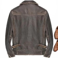 2020 new arrival vintage brown men smart casual leather jacket single breasted plus size xxxl genuine cowhide russian coat