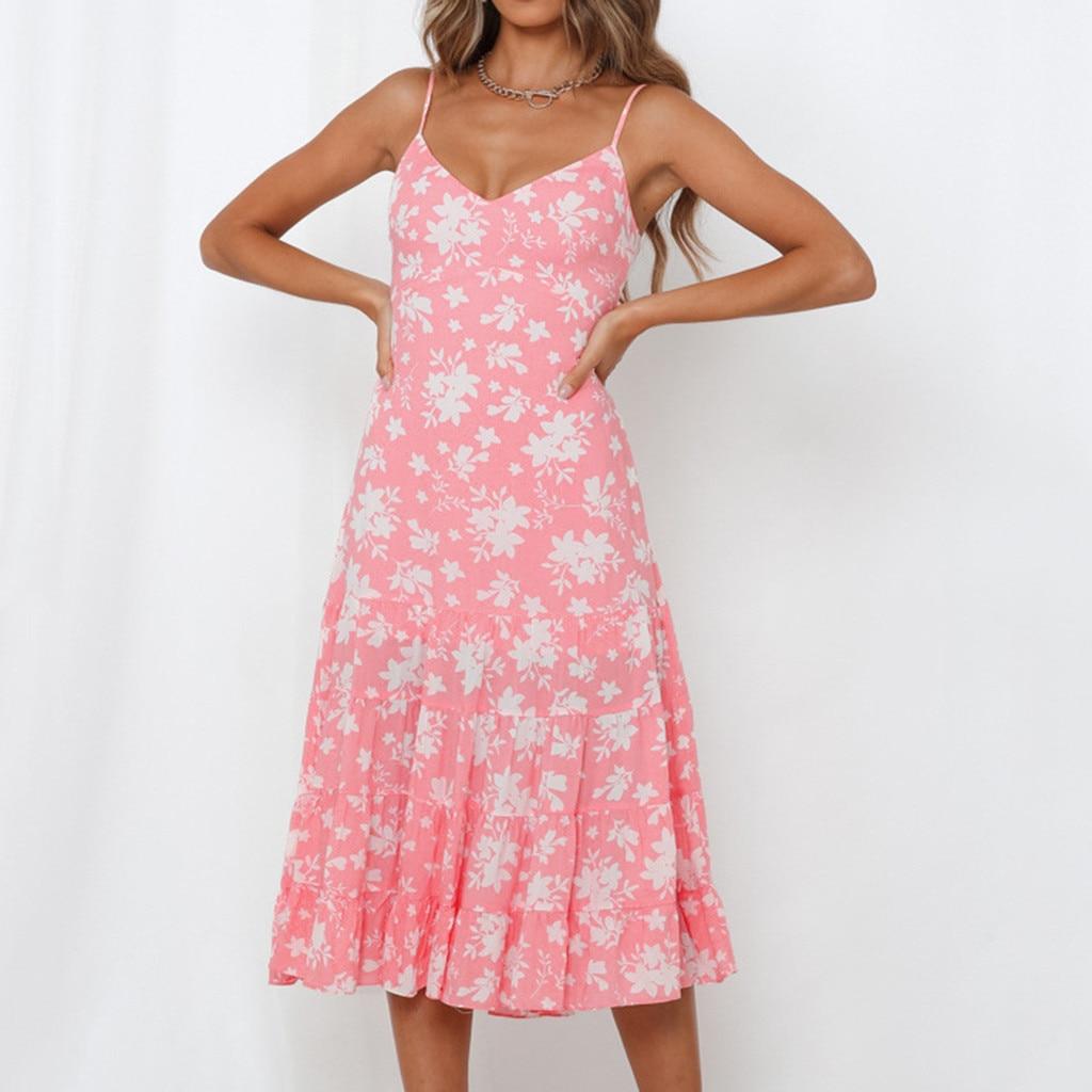 Kancoold vestido feminino arco sem mangas plissado impressão festa lápis vestido longo bandagem bohe moda novo vestido momen 2020jan20