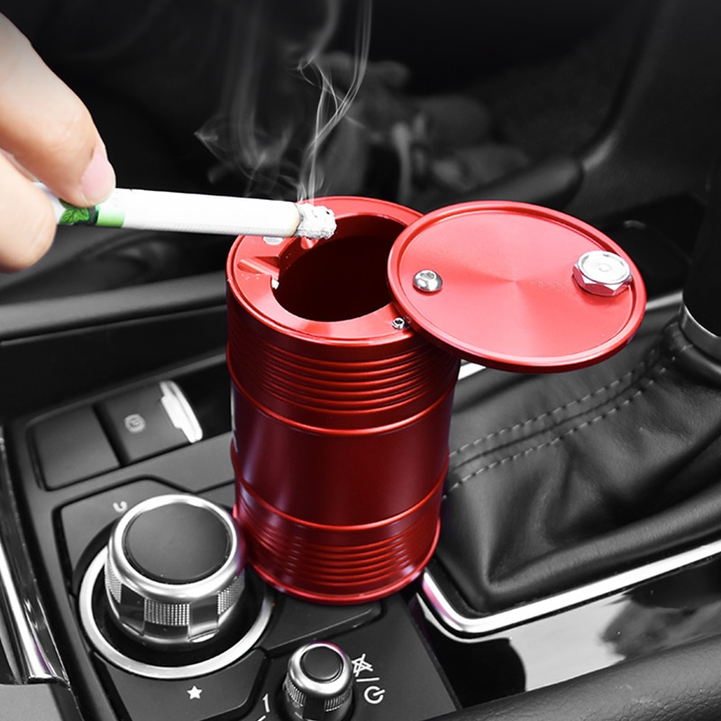 Soporte para Cenicero de coche, tapa portátil, soporte giratorio para cigarrillo, taza de humo de acero inoxidable, personalizado, cenicero para coche con tambor de aceite