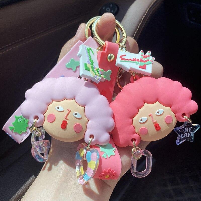 2021 Мультяшные брелоки Pop Girl, милые брелоки для автомобиля, подвеска для сумки автомобиля, студенческие кольца для ключей с подвеской