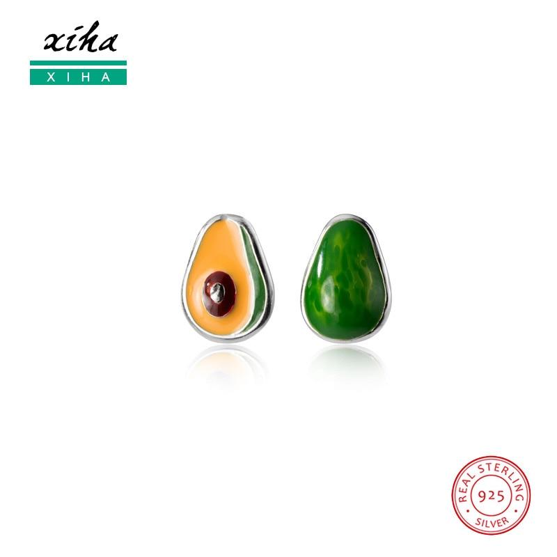 Avocado Fruit Green Enamel Cute Kawaii Korean Stud Earrings for Kid Girls Small Real 925 Sterling Silver Earring 2020