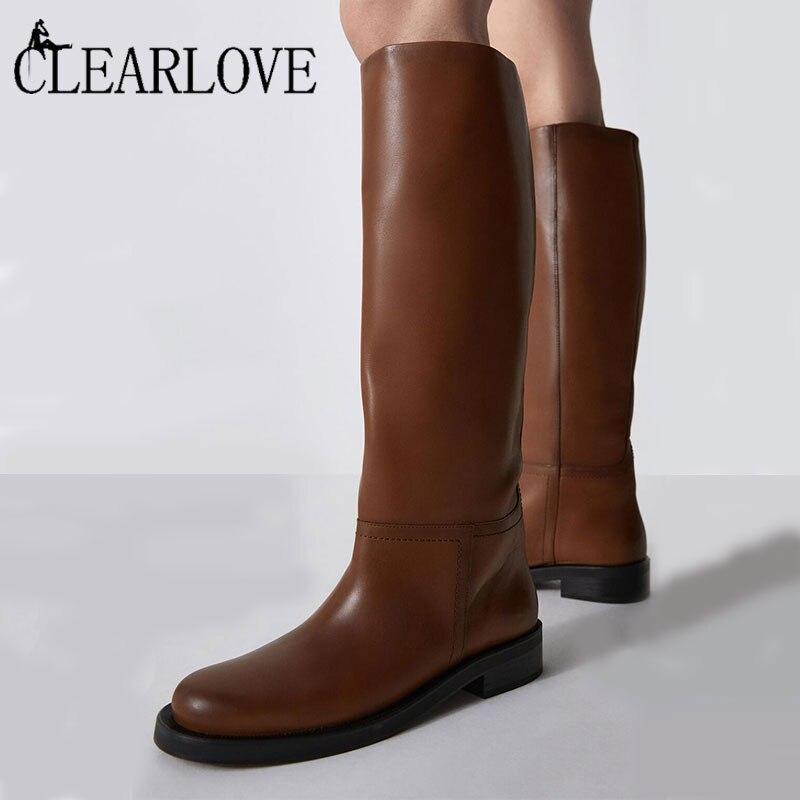 النساء حذاء برقبة للركبة جلد طبيعي موضة أحذية الشتاء 2021 الخريف أحذية طويلة tmid كعب دراجة نارية أحذية امرأة أحذية عالية