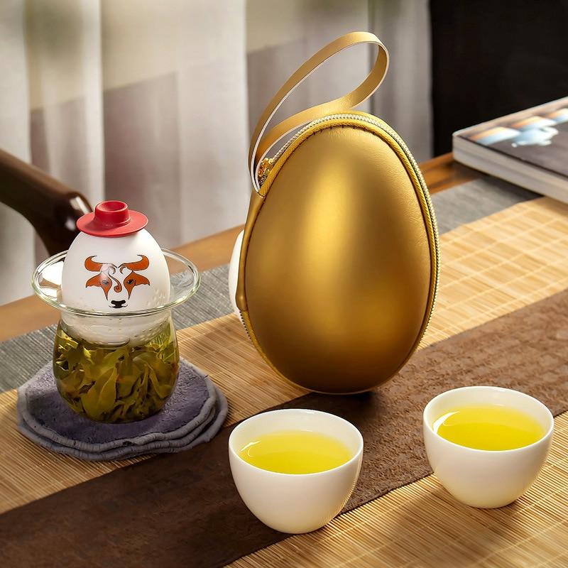 حقيبة محمولة صغيرة سريعة ، وعاء واحد ، كوبين ، إبريق شاي خارجي