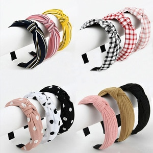 Korean Hairband Women Hair Hoop Wide Headdress Stripe Cloth Knot Headband Wash Face Cleansing Sport Hair Accessories