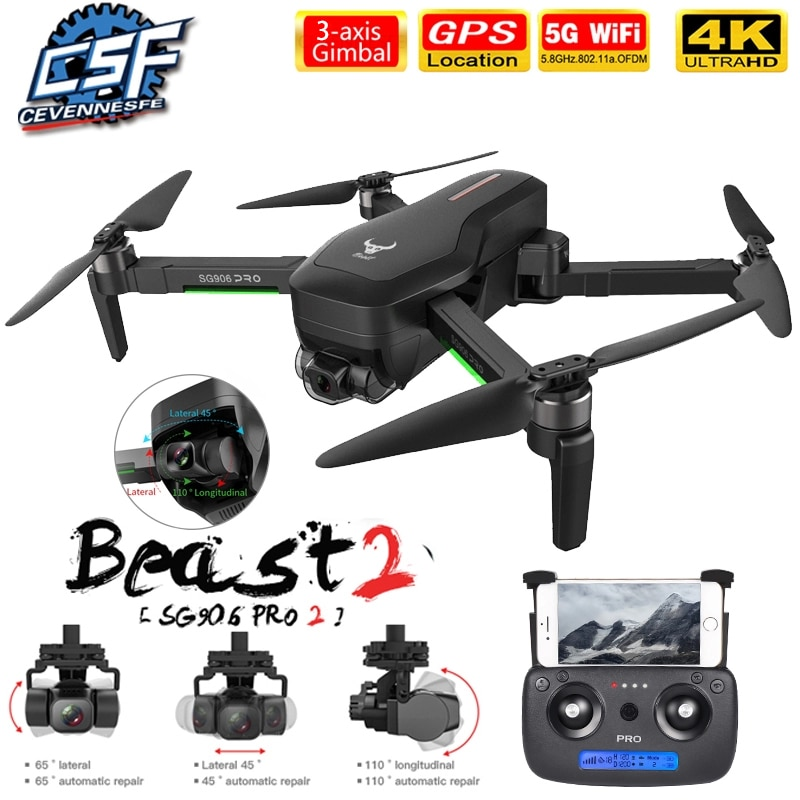 2021 NWE SG906/SG906 Pro 2 drone 4k HD mechanical 3-Axis gimbal camera 5G wifi gps system supports TF card drones distance 1.2km