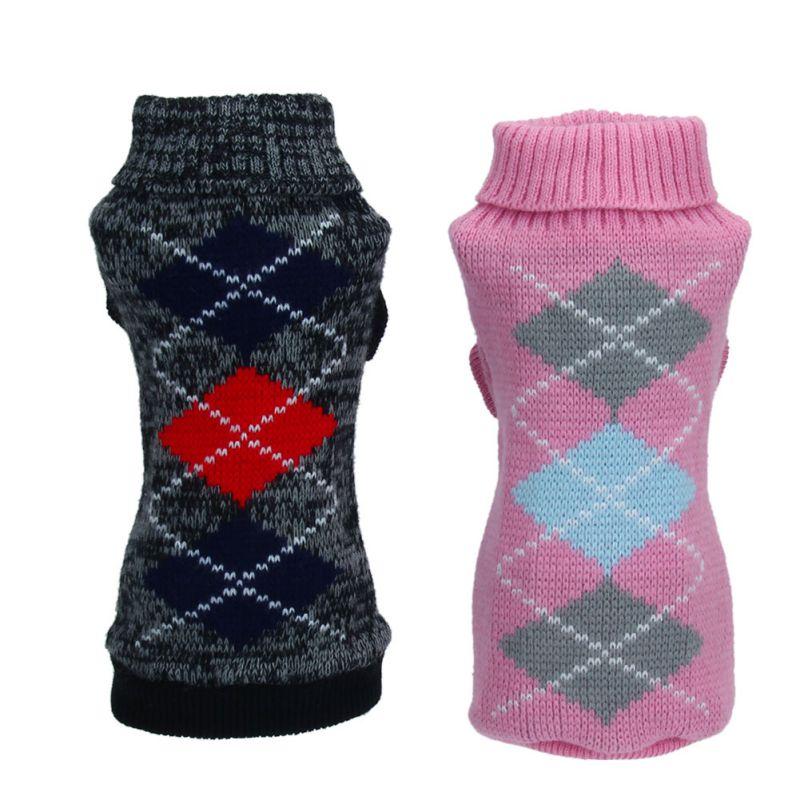 Ropa para mascotas Puppy Sweater Jacquard tejido a cuadros mascota puente ropa negro Rosa nuevo Qgnv