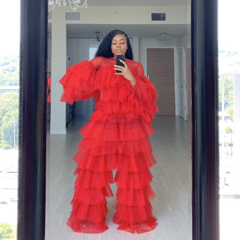 أحدث بذلة حزب اللباس بانت دعوى الأحمر الطبقات الرسمي فساتين حزب الكامل الأكمام شير العنق vestido لونغو