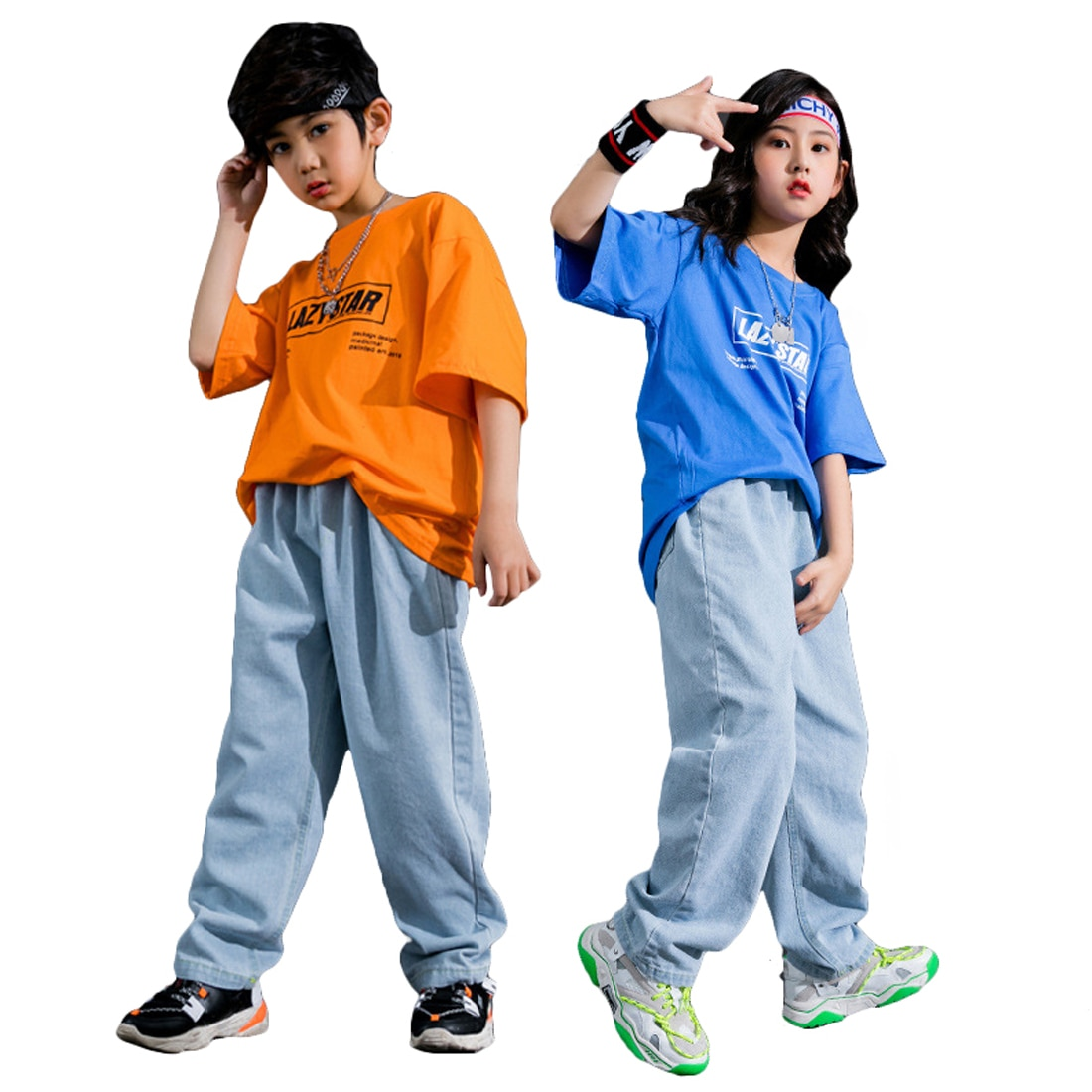 Lolanta Boys Girls Casual Daily Clothes T-shirt Or Jeans Clothes Hip Hop Streetwear Performance Dance Clothing