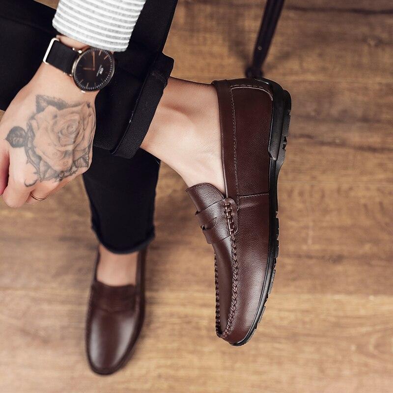 حذاء رجالي عادي جلد طبيعي حذاء رجالي أحذية رجالي رائجة البيع للرجال موضة Zapatos كامبياليس السببية الترفيه الرجال