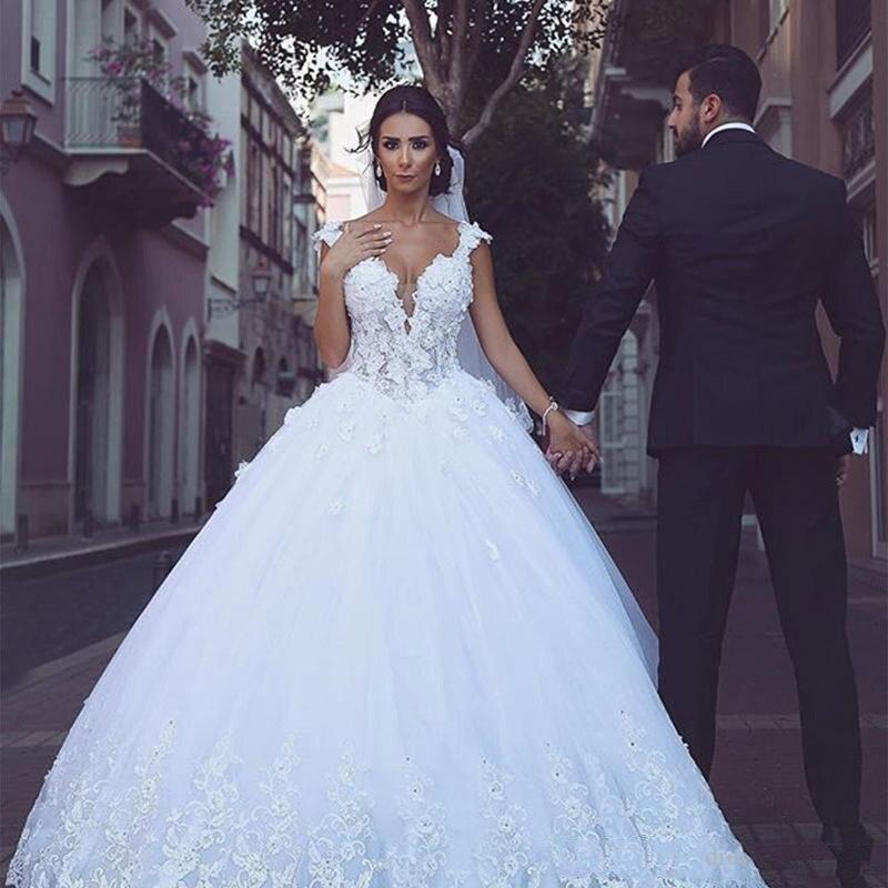الدانتيل يزين ألف خط فساتين الزفاف مطرز زي العرائس 2021 ضمادة الظهر الرسمية طويلة Vestidos De Mariee الشرق الأوسط نمط