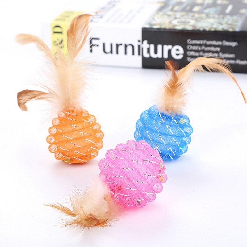 Bola de entrenamiento de tubo de tipo piña bola interactiva de gato con cascabel pequeño de plumas juguetes para gatos juguete para mascotas
