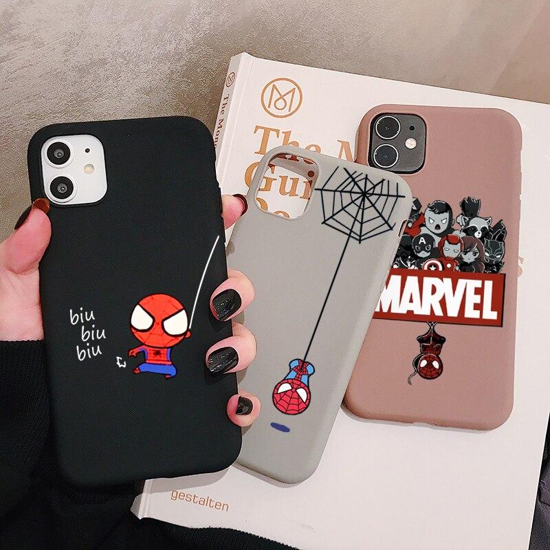 Funda de teléfono Spiderman Marvel para Samsung Galaxy S20 S10 S9 S8 S7 Plus Lite Ultra edge S10e funda de silicona esmerilada suave