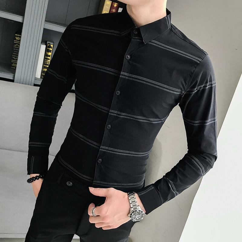 قميص ترفيهي جديد لعام 2019 ، قميص كوري ضيق بأكمام طويلة ، قميص رجالي احترافي