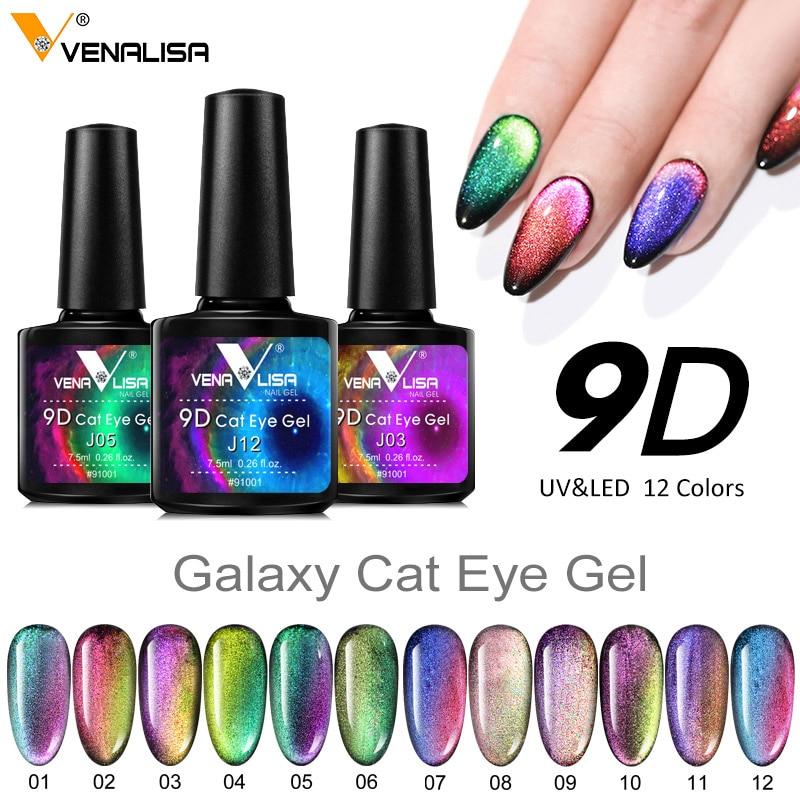 Venalisa Neue Ankunft 9D Gel Lack Katze Auge Magie Chamäleon Nail art Maniküre Galaxy Starry Magnetische Multicolor Nagel Gel Polnisch
