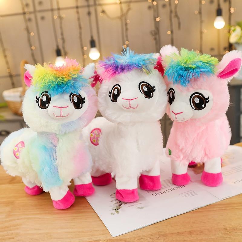 Juguetes eléctricos de felpa, muñeco de Alpacas para bebés, Juguete Musical divertido para mascotas, BOPP vivo, la Llama del botín Shakins, sacudir cabezas, bailar Singsing
