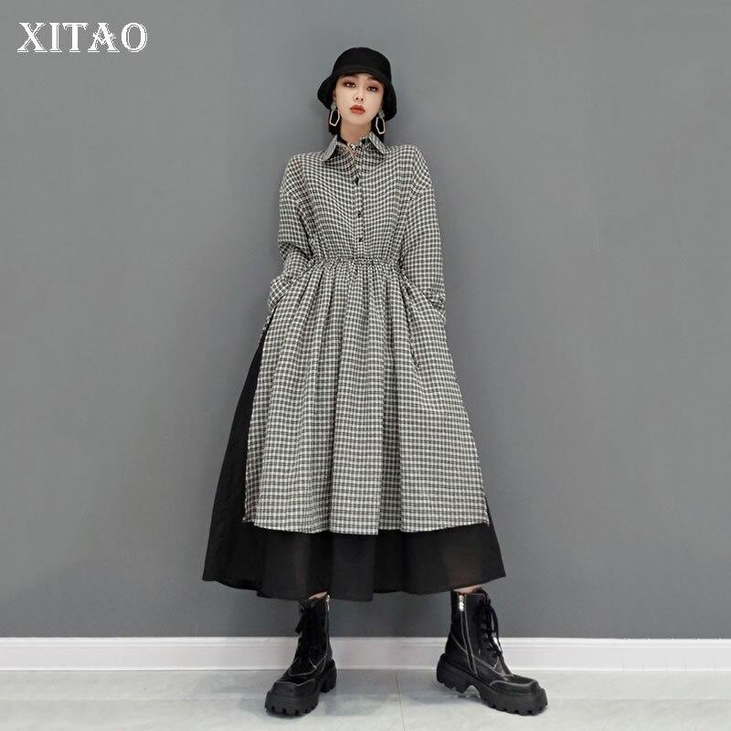 فستان نسائي من XITAO موضة جديدة برباط على الخصر بأكمام طويلة وياقة مقلوبة مناسب للخريف العصرية CLL1907