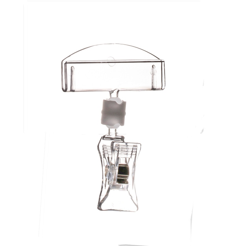 Clear POP Plastic Sign Promotion Paper Tag Card Holders Display Advertising Clips Top W5cm High Quality&Good Packing 20pcs