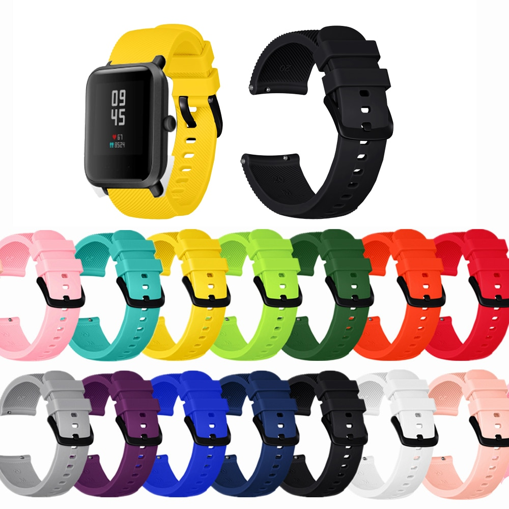 20mm Silicone Strap For Xiaomi Huami Amazfit Bip S Lite Smart band Bracelet for Amazfit Bip Strap Replacement Belt Accessories