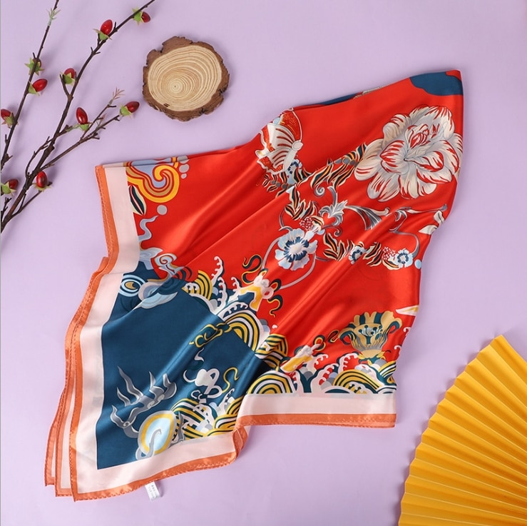 New mulberry silk 16 m crepe satin Chinese style square scarf gift scarves