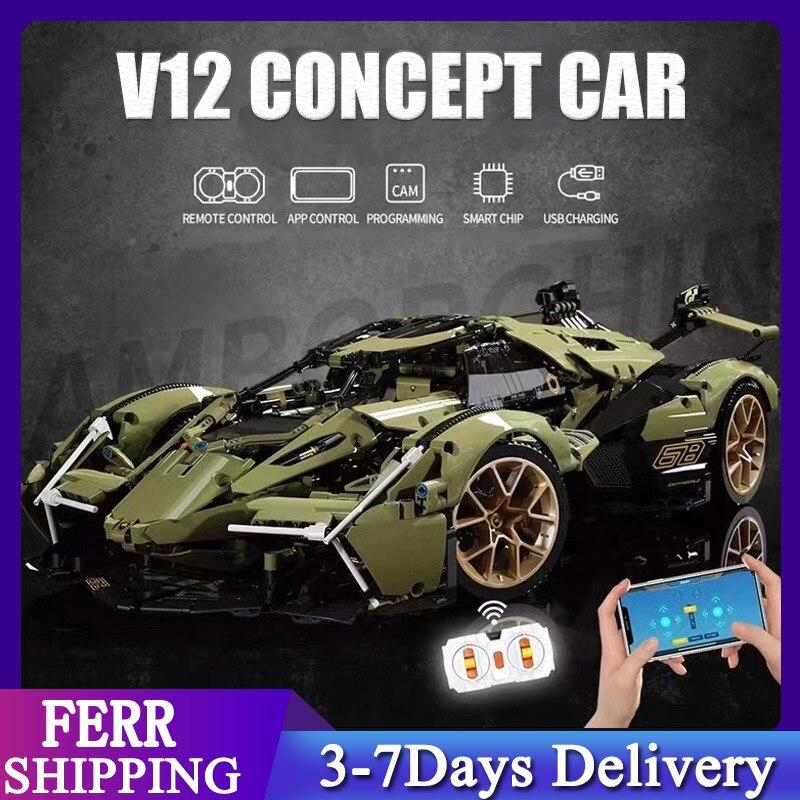2021 MOC Car Bricks Technical Toys lamborghini sian 2527pcs Building Block Super Racing Vehicle Model Gift For Boyfriend