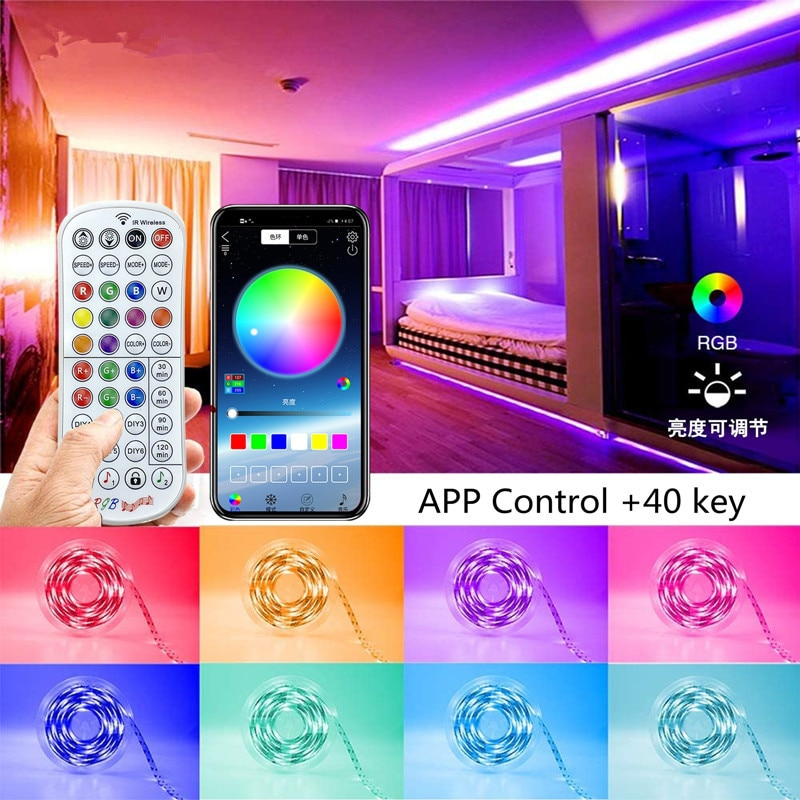 led strip 12V 5m 10m 15m 20m led light RGB 5050 SMD IP20 Flexible Ribbon Stripe Bluetooth APP Diode Tape Controller LED Lights