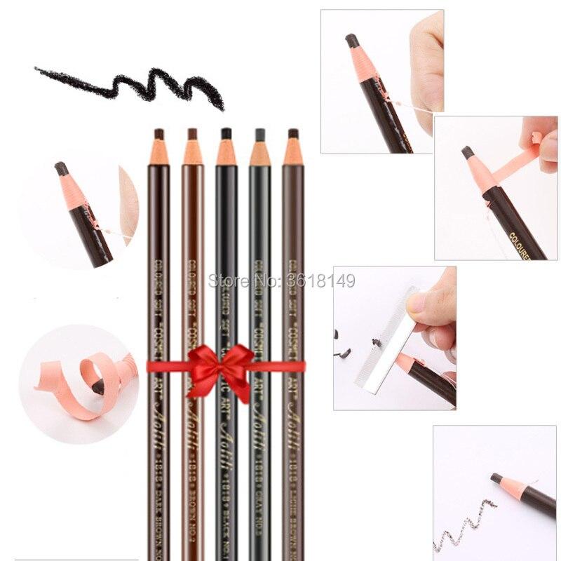 6 pçs à prova dwaterproof água 1818 lápis de sobrancelha microblading peel-fora lápis preto cinza marrom claro marrom natural cor marrom lápis