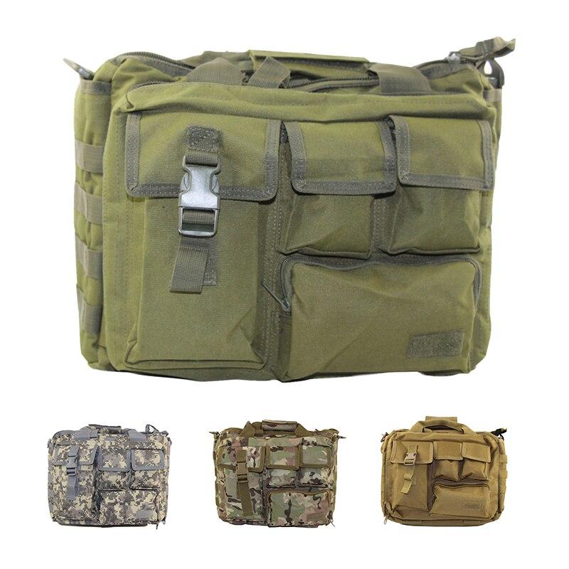 Military Tactical Nylon Shoulder Bag Mens Multifunction Handbag Waterproof Laptop Crossbody Bag for Outdoor Climbing Trekking