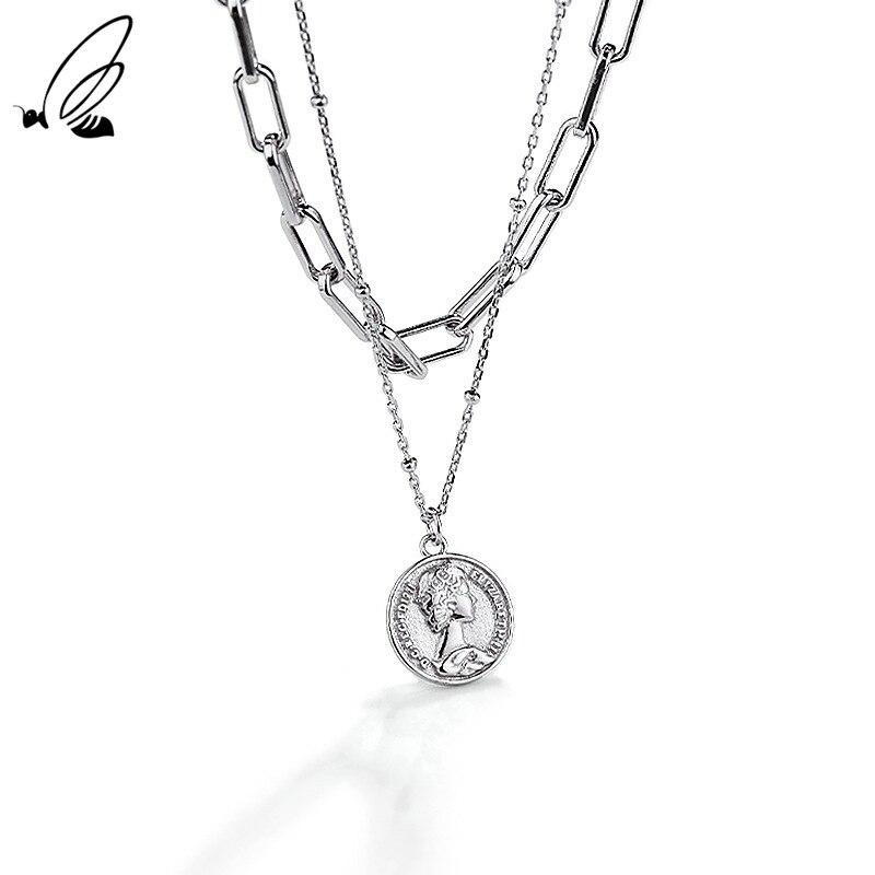 S'STEEL Sterling Silver 925 Necklace Portrait Coin Double Layer Pendant Trendy Design Minimalist 202