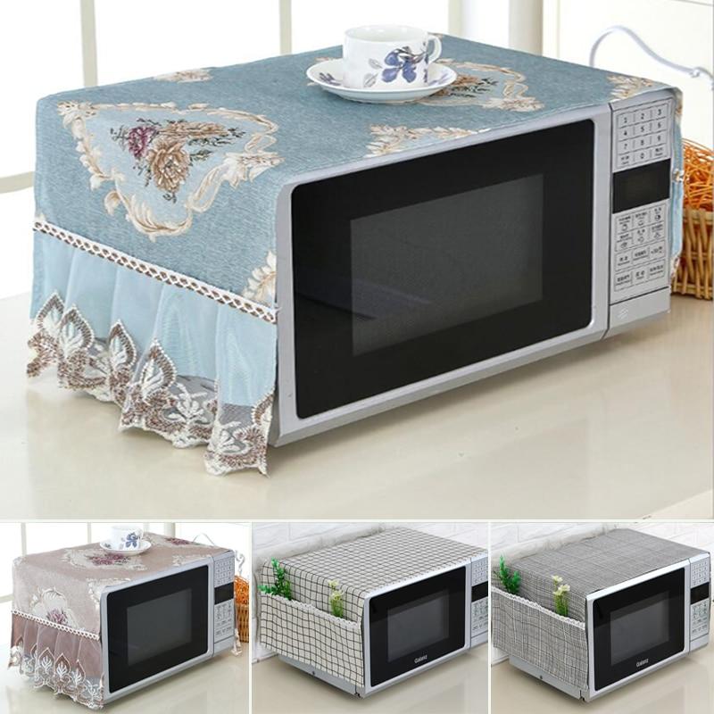 Cubierta antipolvo para horno microondas, Material Natural a prueba de aceite, protección transpirable con bolsa de almacenamiento para Cocina