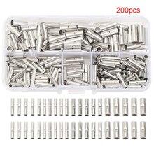 200 pièces manchon bricolage bout à bout connecteurs Kit Terminal fil électrique cuivre étamé Non isolé nu sertissage roulé Tube épissure