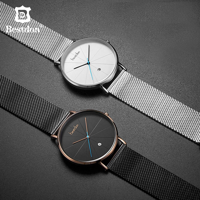 Switzerland Brand Minimalist Watch For Men Luxury Casual Style Geek Designer Waterproof Slim Quartz