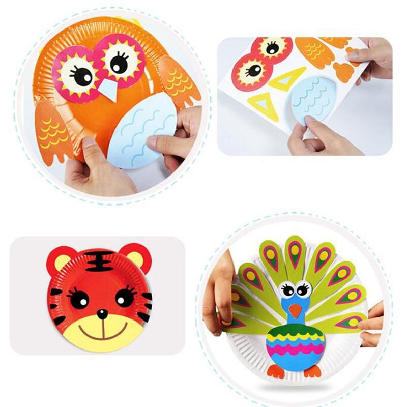 Dibujos Animados lindos juguetes rompecabezas creativo DIY papel pintura niños Manual pegatinas iluminación juguetes educativos