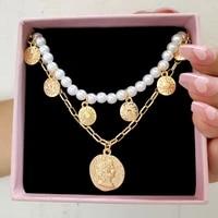 handmade round pearl bead strand gold sun portrait coin pendant necklace women imitation pearls beaded choker vintage jewelry