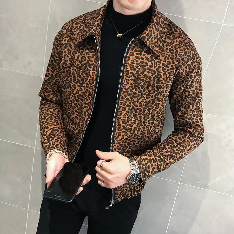 Повседневная мужская куртка, Мужская куртка-бомбер, Мужская осенняя куртка на молнии с леопардовым принтом, теплая Свободная куртка, Мужска...