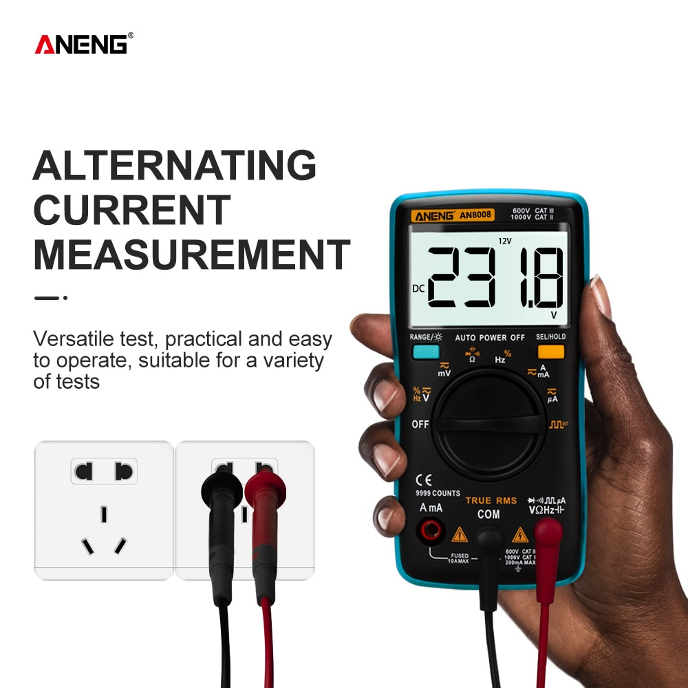 ANENG-مقياس رقمي متعدد AN8008 ، 9999 عد ، True-RMS ، موجة مربعة ، إضاءة خلفية ، تيار متردد ، تيار مستمر ، أوم ، تلقائي/يدوي