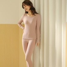Women's Pajamas Pure Cotton Dark Pink Long Sleeve Basic Set Thread Thermal Underwear Bodybuilding Ti