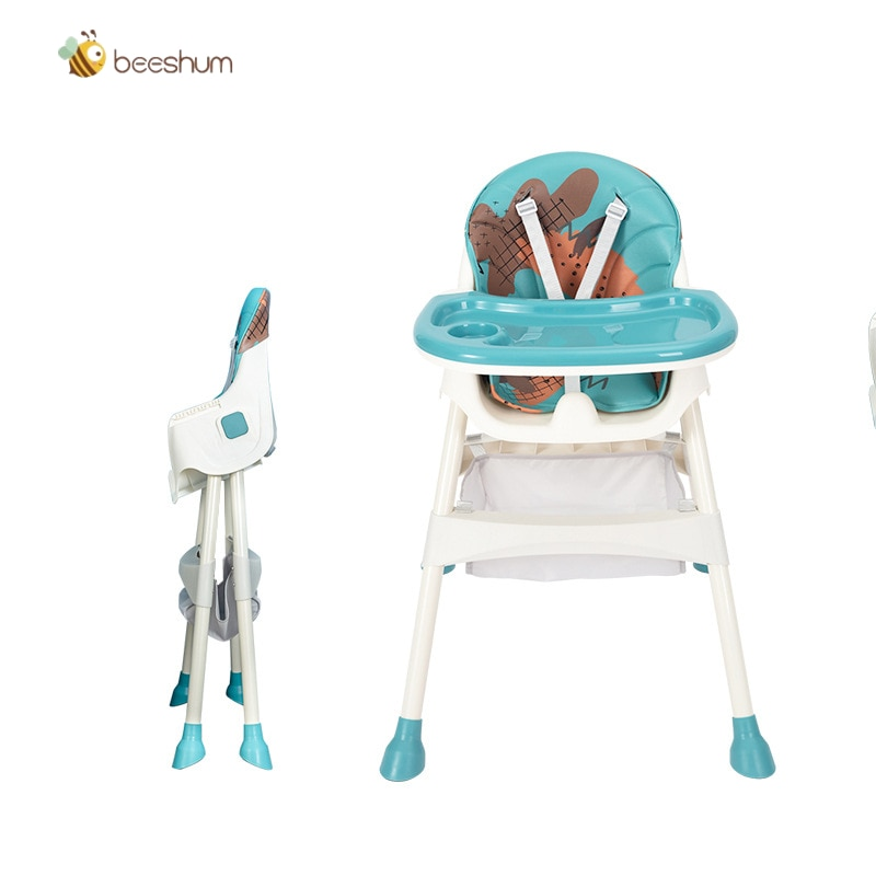Baby Kids High Chair with Safe Meal Tray Adjustable Height High-Foot Feeding Chair Children Dining Chair Foldable Portable Chair