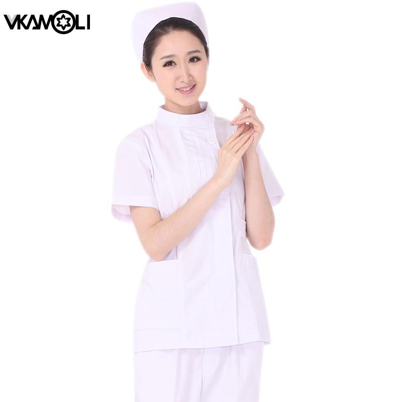 Womens lab Uniform gown Short sleeve lab coat Cosmetic dental overalls set