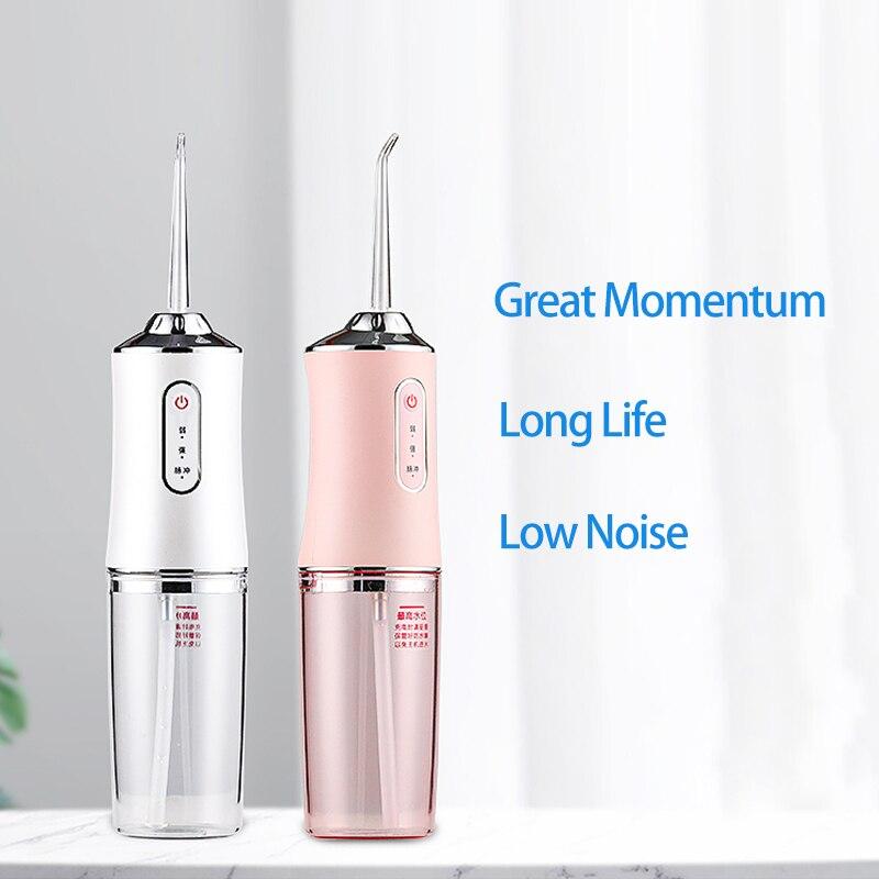 المحمولة عن طريق الفم الري مع حقيبة السفر جهاز تنظيف الأسنان بالماء USB قابلة للشحن 4 فوهات المياه النفاثة 300 مللي خزان المياه مقاوم للماء