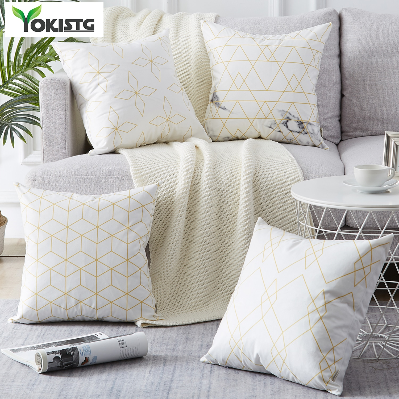 Funda de cojín YokiSTG con estampado geométrico, funda de cojín rombal de poliéster para sofá cama, almohada decorativa de estilo Simple