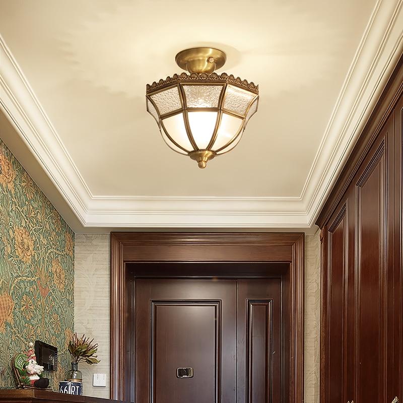 Lámpara de techo, lámpara de suspensión, moderna, minimalista, de cobre, Retro, luces de pasillo, lámparas de balcón de estilo americano