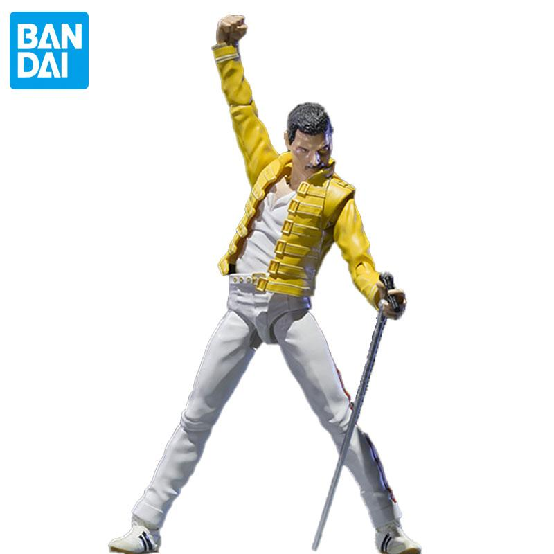 Original Bandai 1/12 Queen Freddie Mercury Live At Wembley Stadium Figurnies 15Cm Shf Doll Action Figure Model Adult Kids Toys