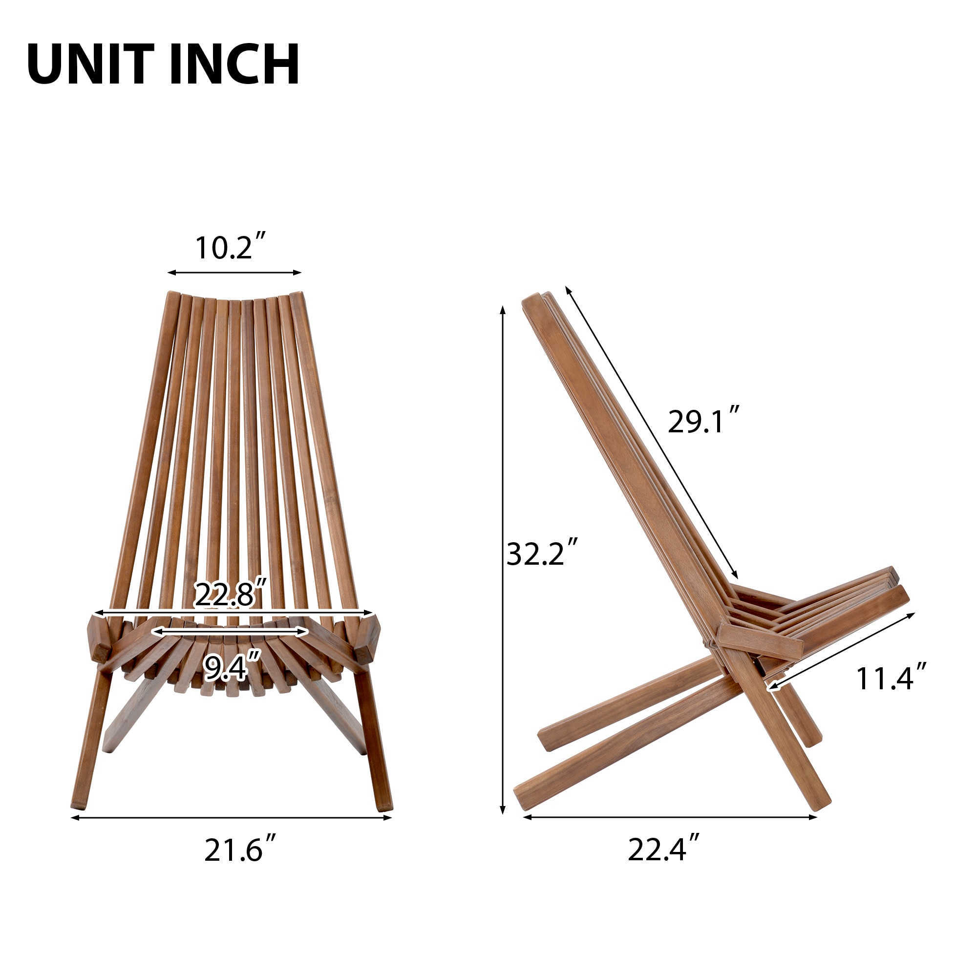 Outdoor Patio Furniture Folding Wood Chair Indoor Seating Garden Beach Accent Chaise Lounge Stylish Natural Finish